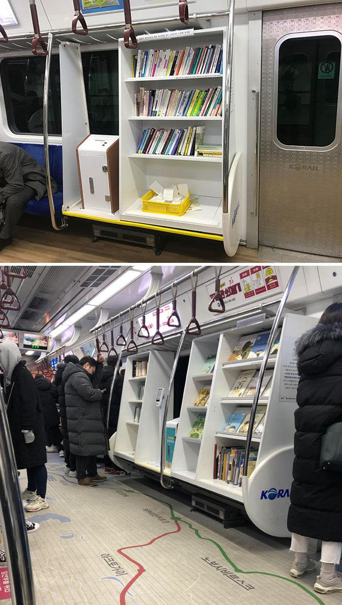 Alguns vagões de metrô possuem minibibliotecas.