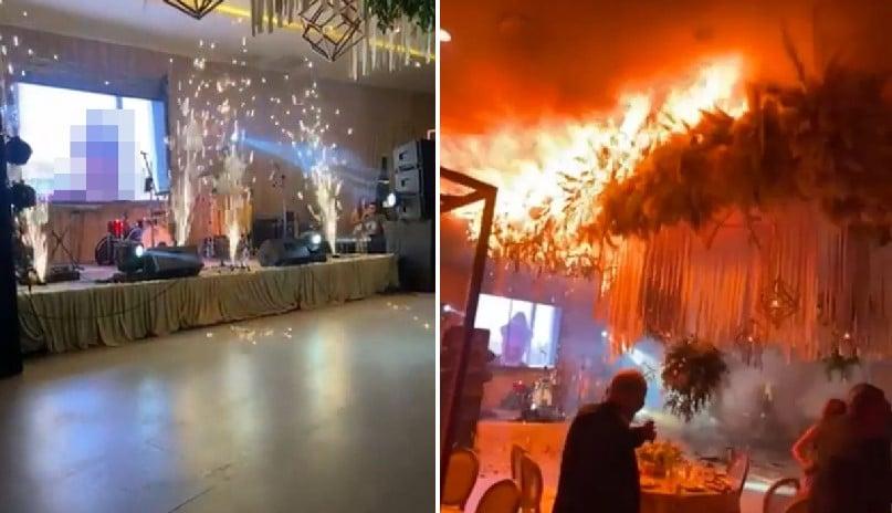 Casamento termina inesperadamente após fogos de artifício provocarem incêndio