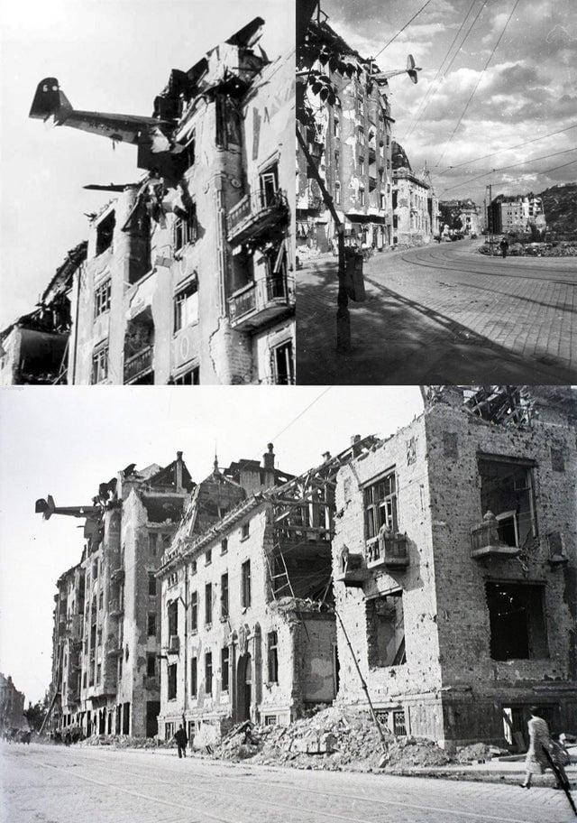 Avião que caiu no telhado de um edifício residencial em Budapeste, em 1944.