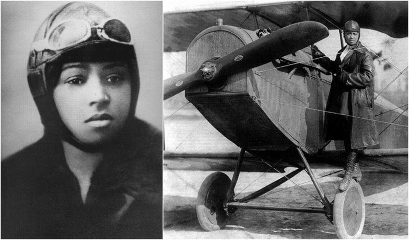 Bessie Coleman, a primeira negra e nativa americana a obter sua licença de piloto, em 1921. Ela teve que viajar para a França para aprender a voar e obter sua licença, devido ao racismo e sexismo norte-americano da época.
