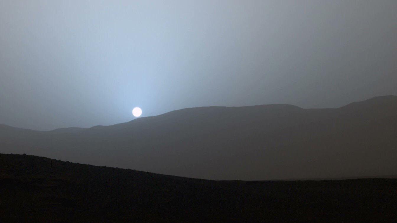 Pôr do sol visto de Marte.