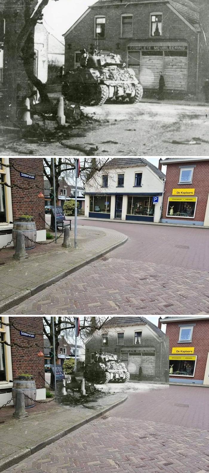 Tanque inglês em 1945 e a mesma rua em 2021