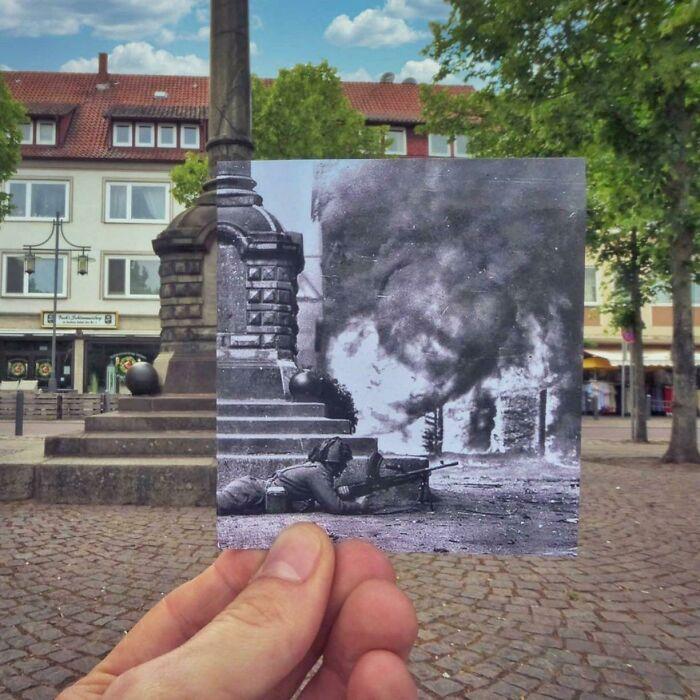 Praça da cidade de Uelzen, Baixa Saxônia, Alemanha - durante a Batalha do Reno, abril de 1945 e 2021
