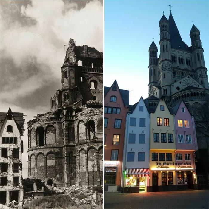 Igreja de São Martinho, em Colônia, Alemanha, 1946 e 2021