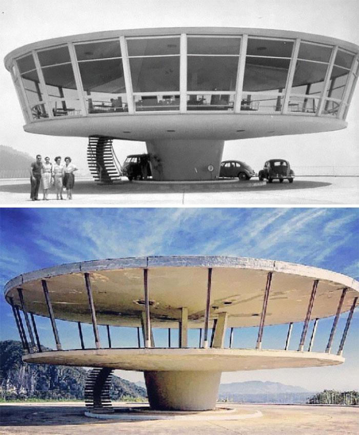Restaurante abandonado em Petrópolis, Brasil (1960 e 2013)
