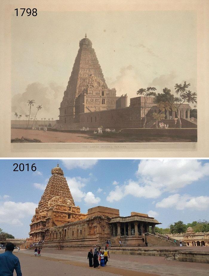 Templo de Brithadisvara, Thanjavur, Índia - 1798 e 2016