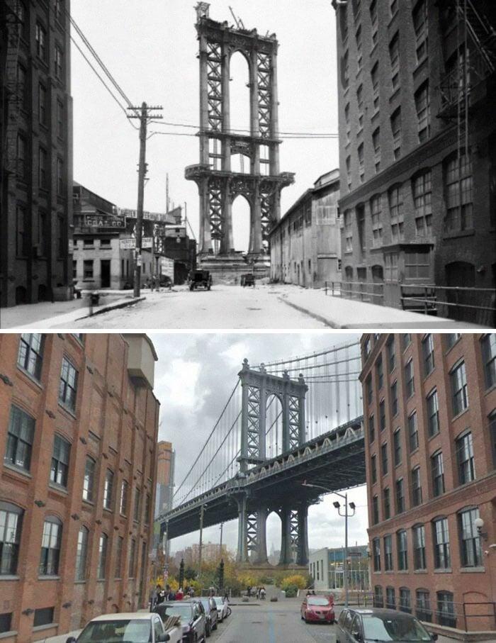Ponte de Manhattan inacabada em 1908 e agora