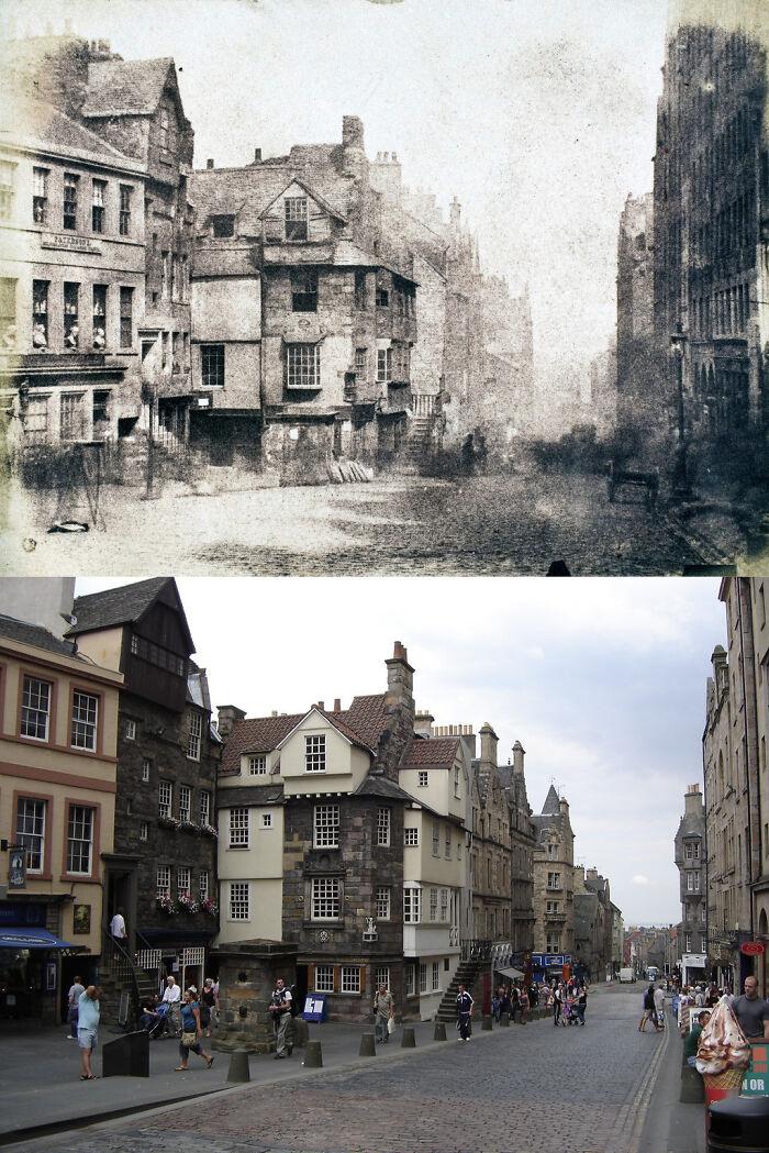 The Royal Mile, Edimburgo, Escócia - 1847 e hoje
