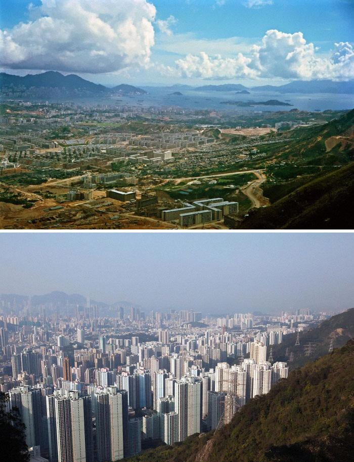 Península de Kowloon, em Hong Kong, 1964 e 2016