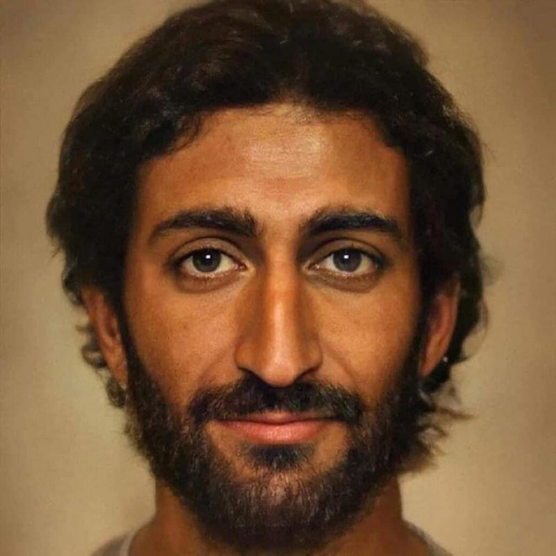 Retrato que sugere aparência de Jesus usando inteligência artificial incorporando o que sabemos sobre sua etnia e cultura para a época e região.