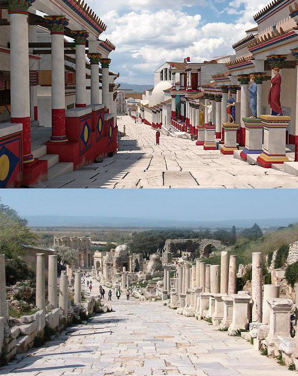 Era assim que a Grécia Antiga se parecia. Aqui está a reconstrução da Rua Curetes, na antiga Éfeso.