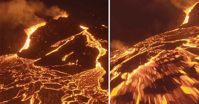 Imagens de drones de dentro de vulcão são absolutamente insanas